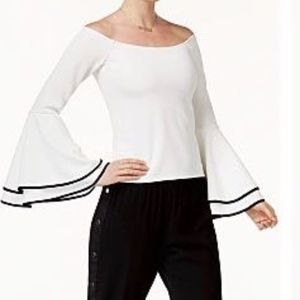 Bar III Off white Bell sleeve off shoulder top